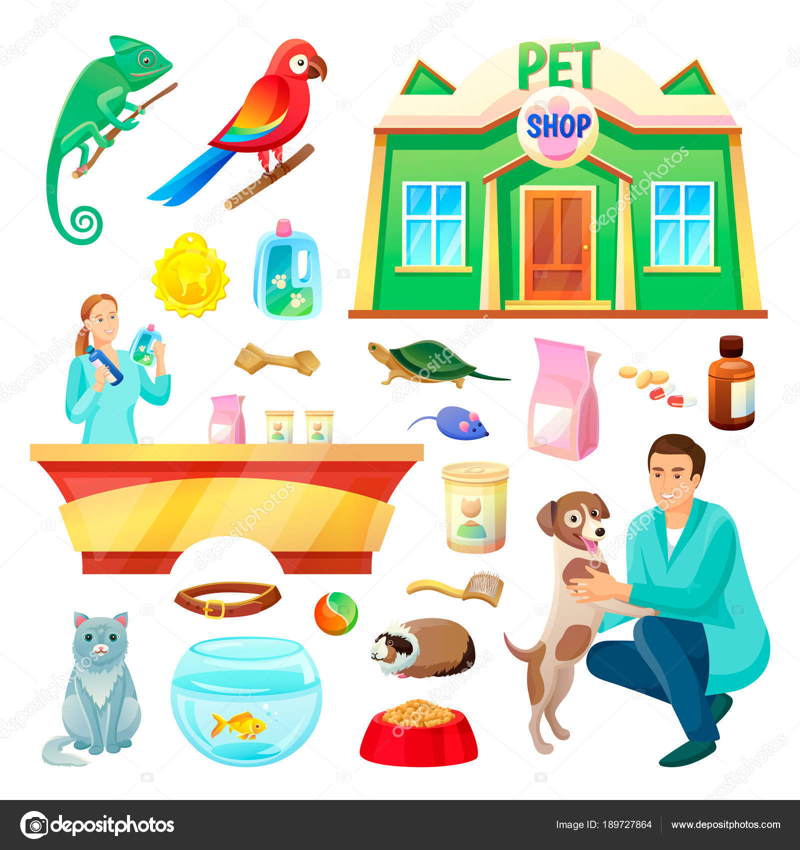 ペット ショップ動物と製品イラスト ストックベクター Robuart
