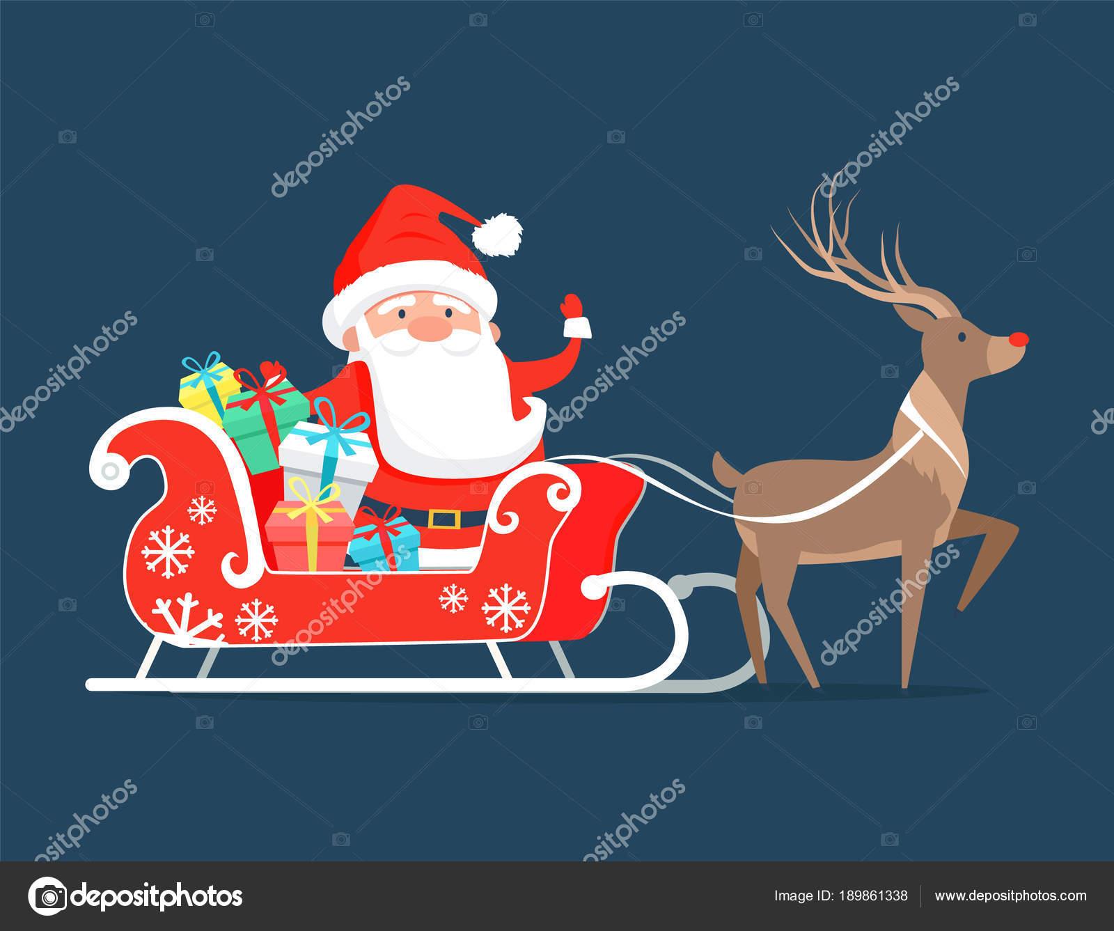 Immagini Babbo Natale Con Renne.Immagini Santa Claus Sulla Slitta Babbo Natale Sulla