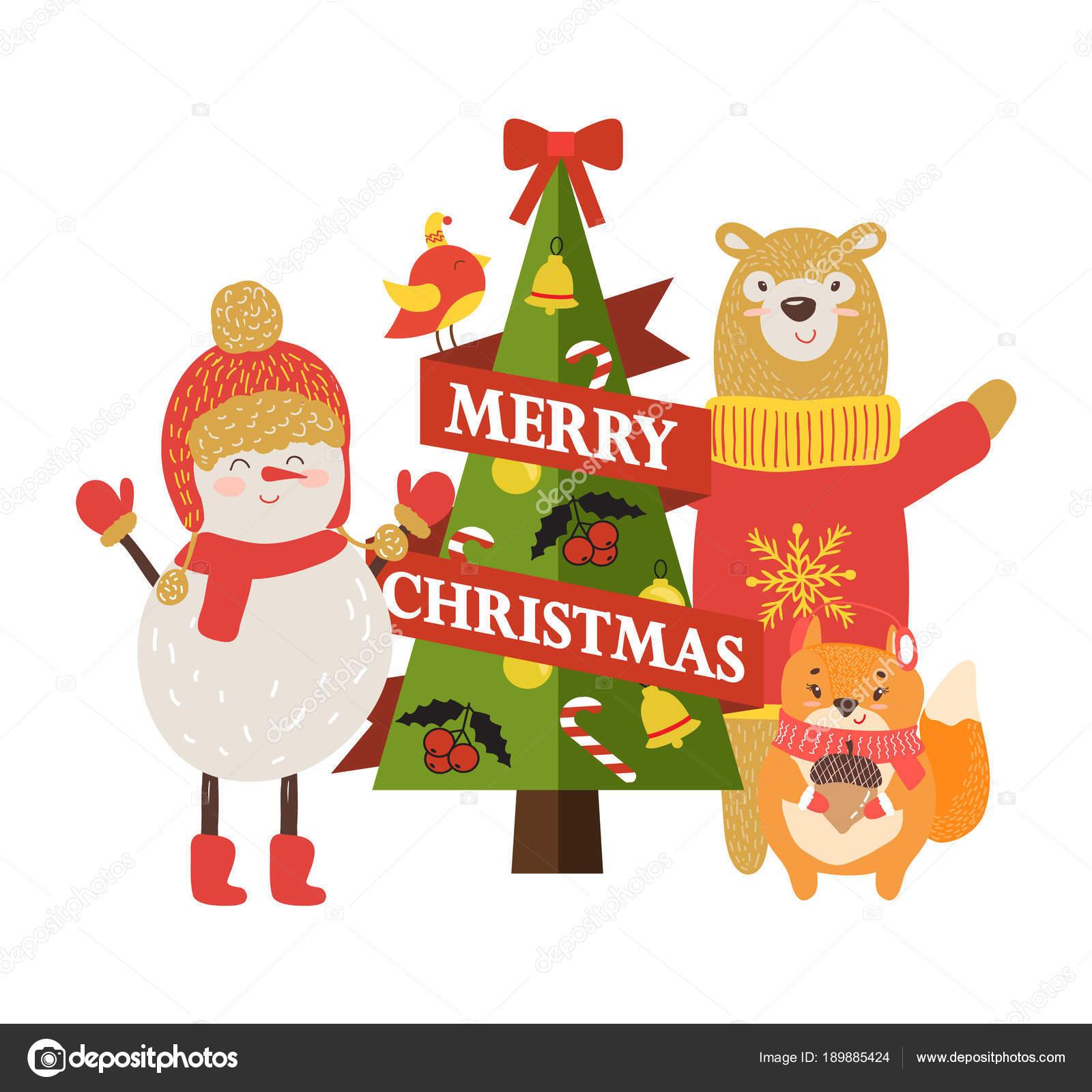 Comic Frohe Weihnachten.Frohe Weihnachten Postkarte Mit Comic Figuren Stockvektor