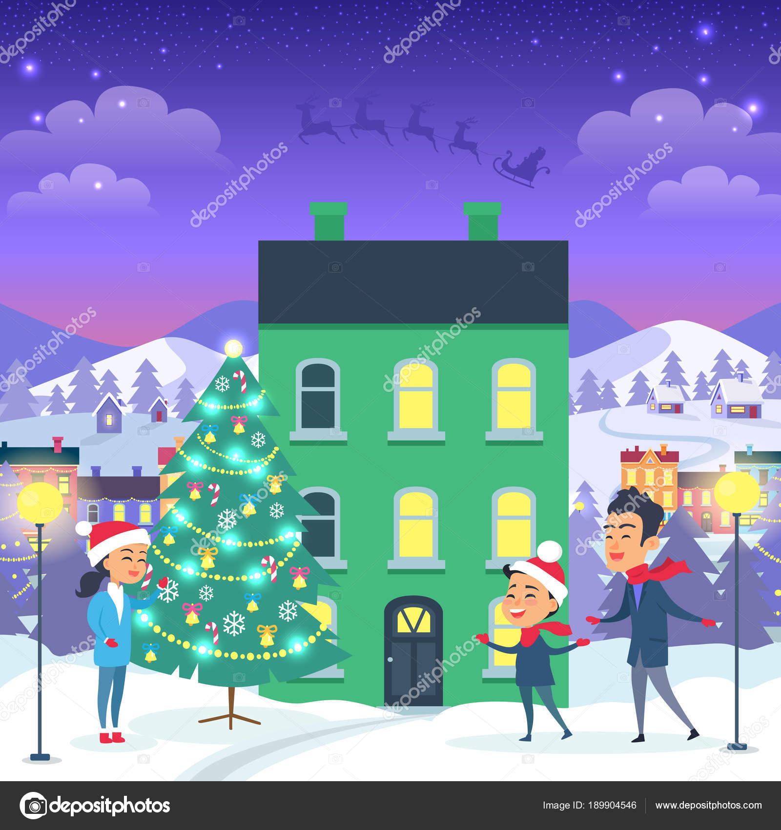 Happy Family and Fir Tree on Night City Background — Stock Vector