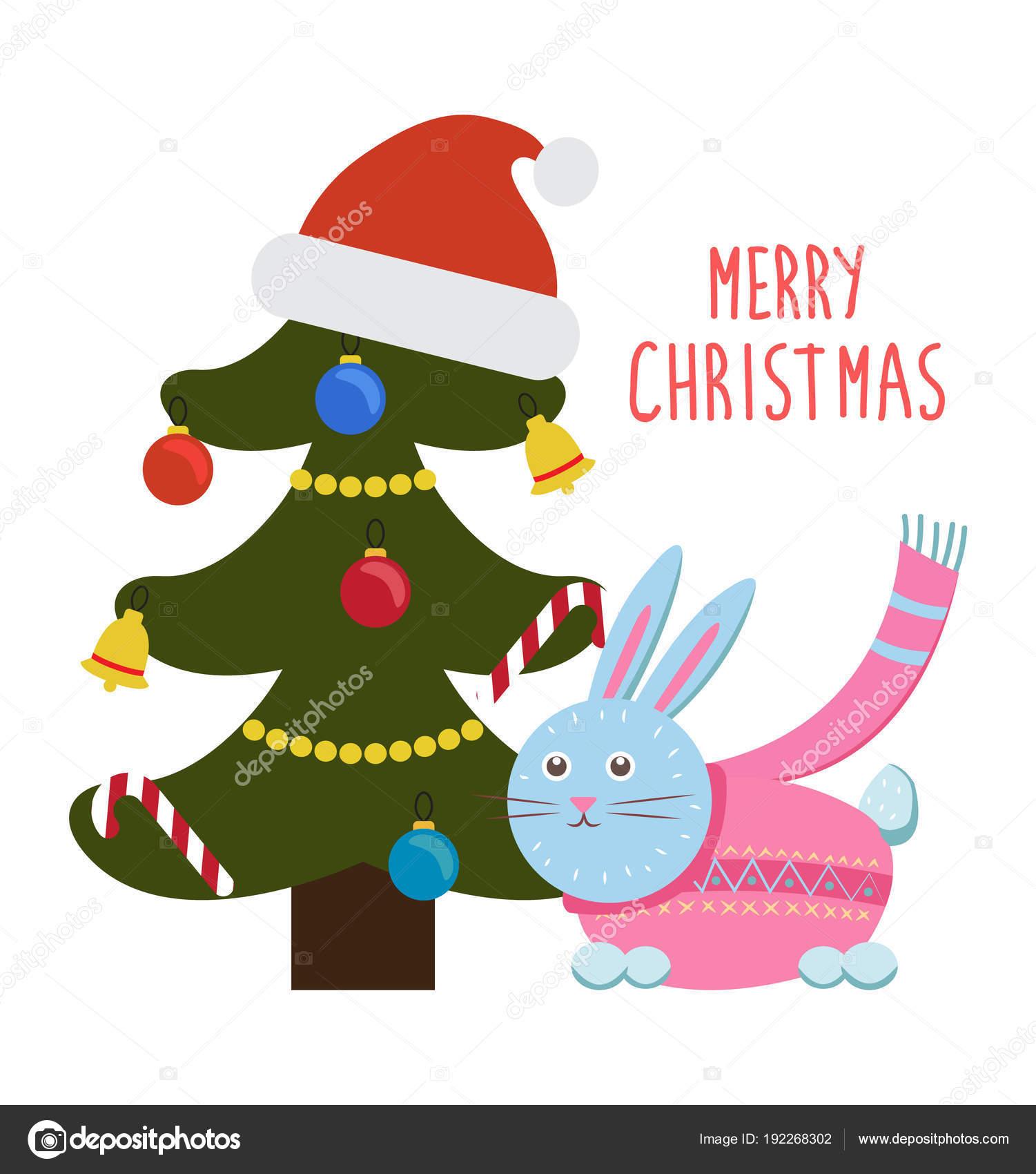 Frohe Weihnachten Grüße.Frohe Weihnachten Grüße Cartoon Hase Kaninchen Baum Stockvektor