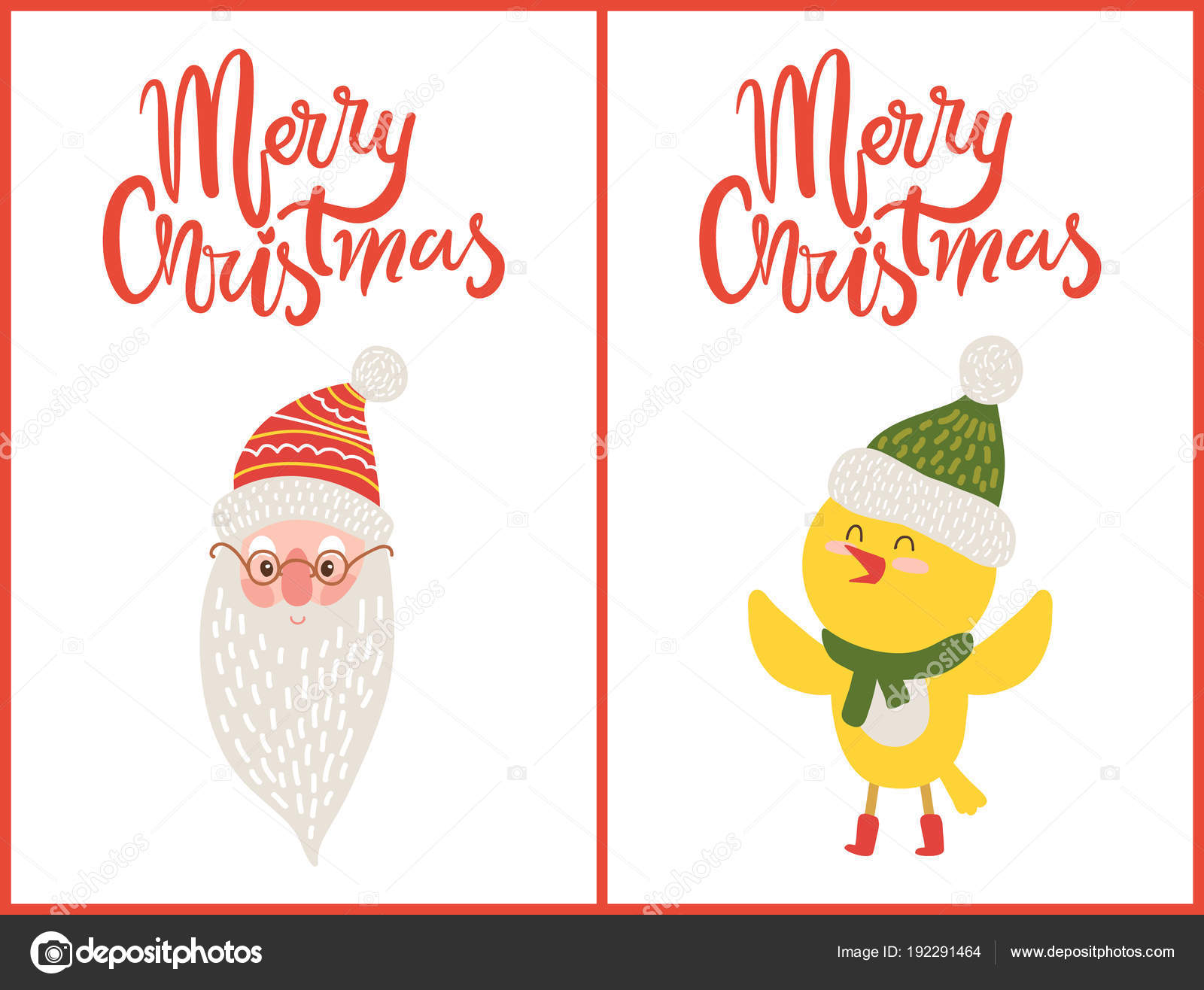 Merry christmas greeting cards santa claus chicken stock vector merry christmas greeting cards santa claus chicken stock vector kristyandbryce Choice Image