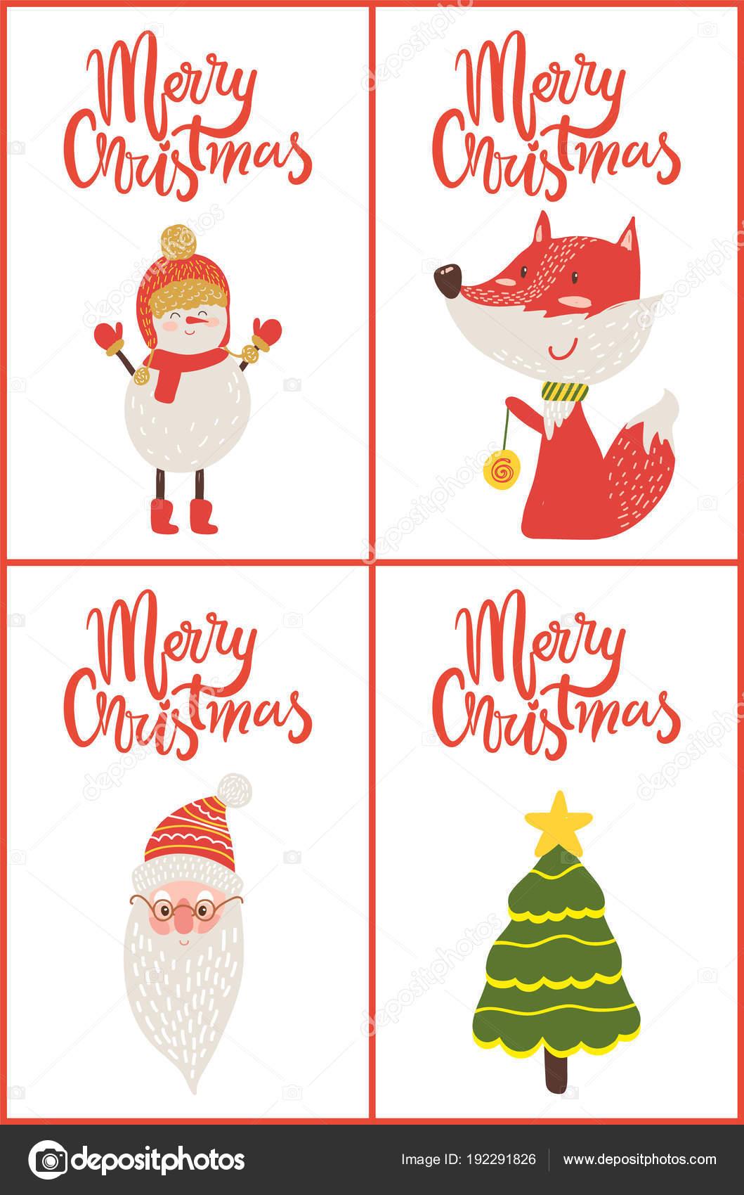 Merry Christmas Posters Titels Vectorillustratie Stockvector