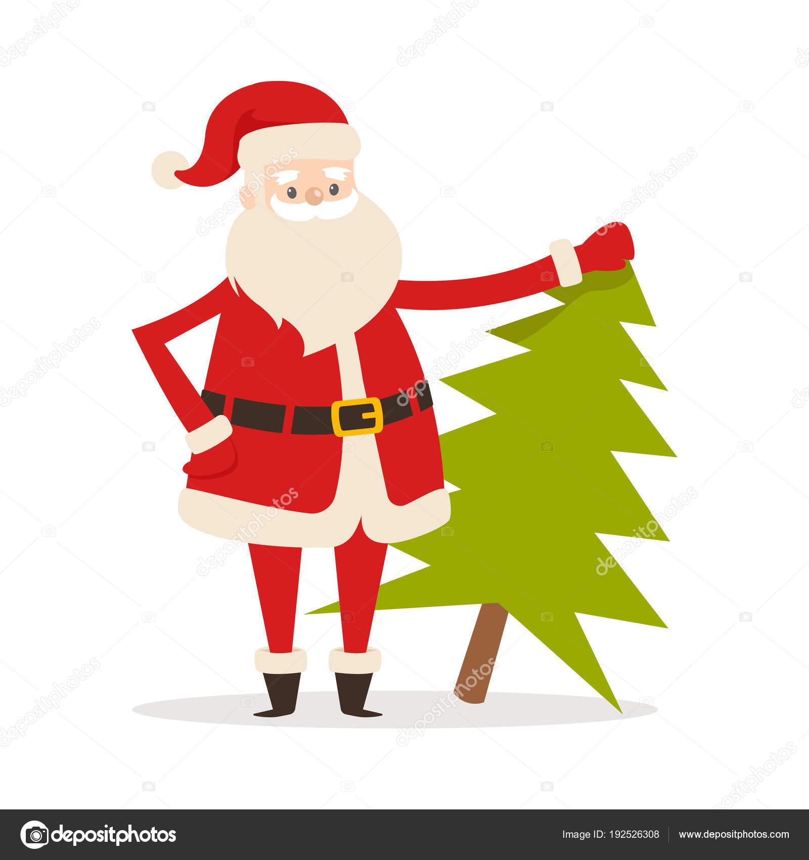 Papai Noel Com árvore Do Abeto Fresco Pai Natal Vetores