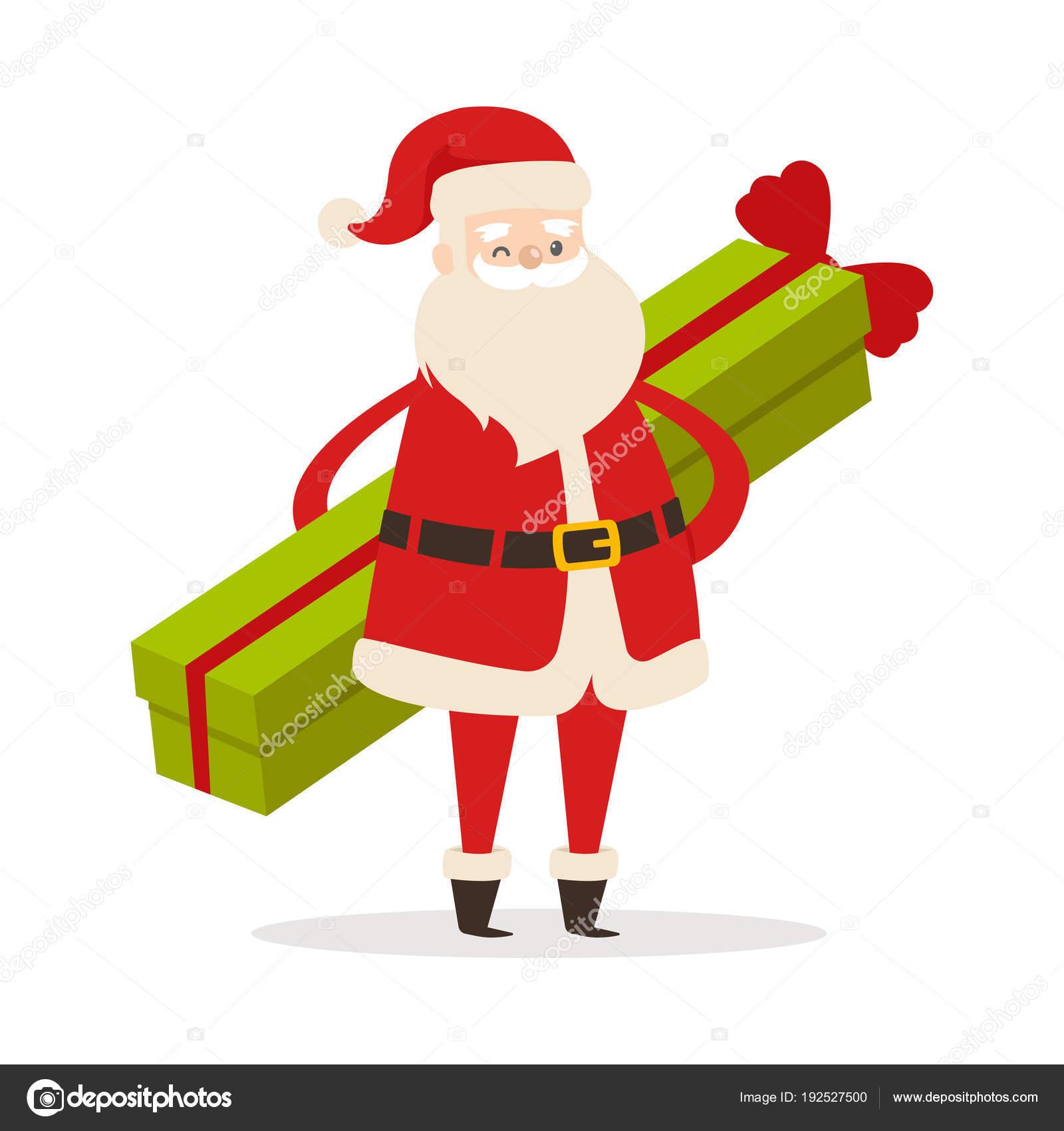 Stehender Weihnachtsmann Mit Auf Geschenk Langen Weißem WH9IYE2D