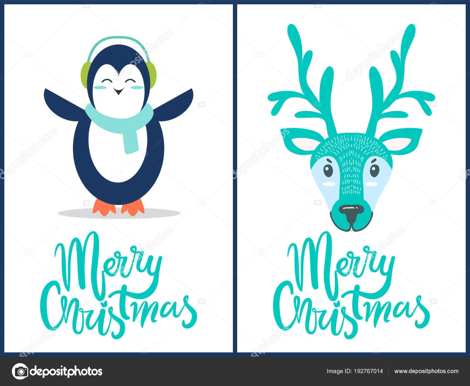 Feliz Navidad Rotulos.Feliz Navidad Pinguino Ilustracion De Vector De Ciervos