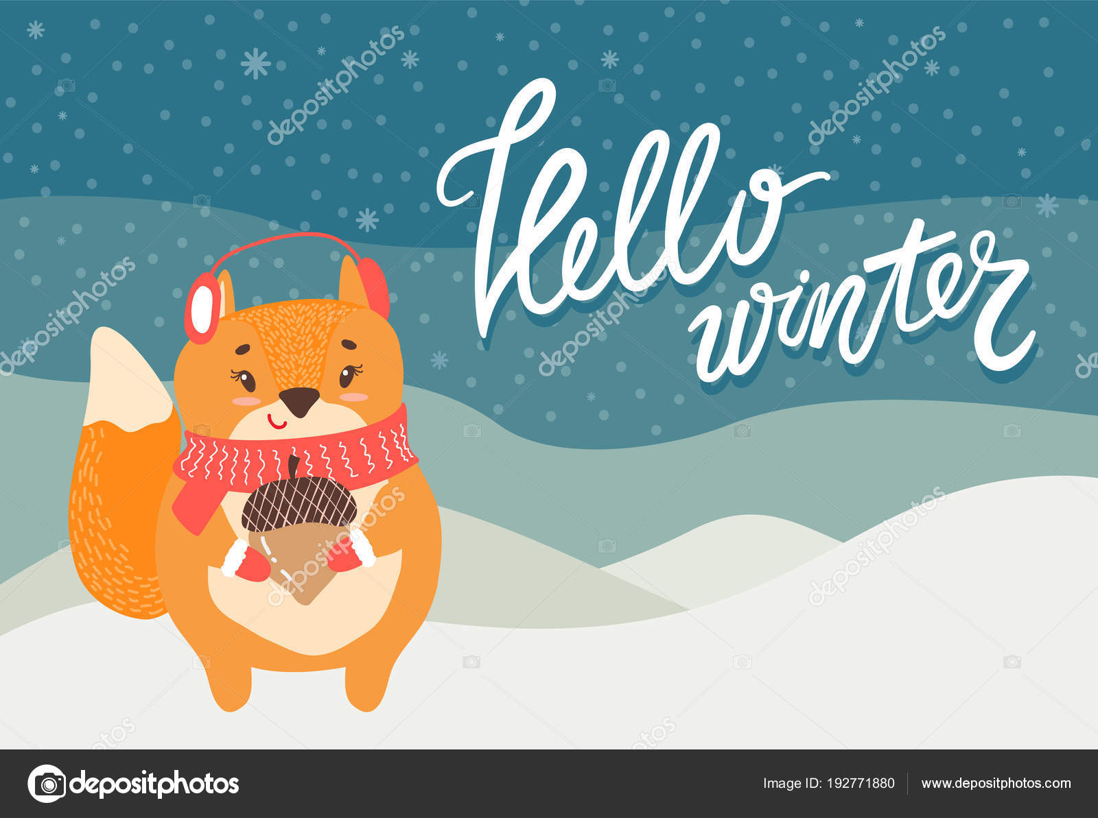 Hello Winter Greeting Card Cute Squirrel And Acorn Stock Vector