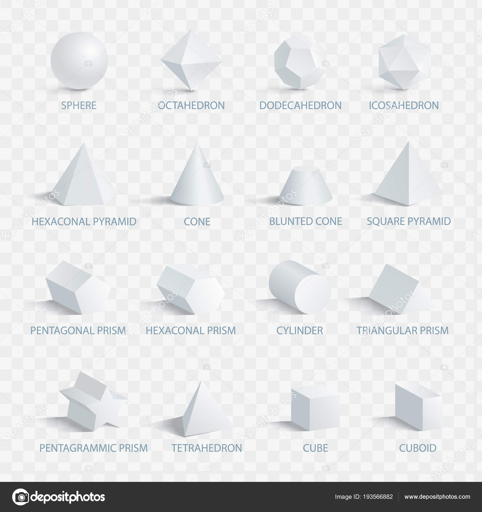 Geometric 3d Shapes With Names Vector Illustration Stock Vector