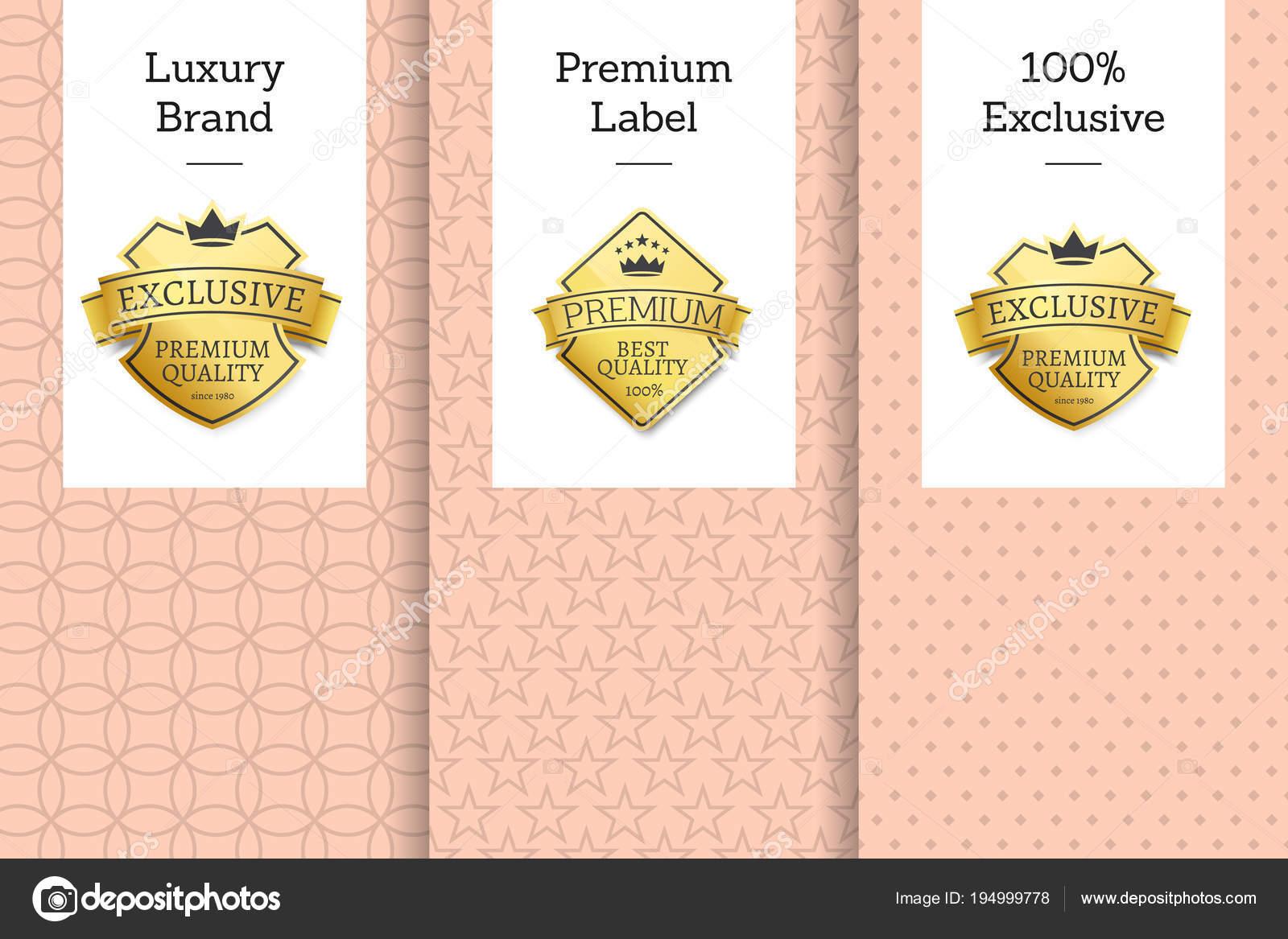 9f4c1b80cfaf Роскошный бренд премиум Label 100 эксклюзивных эмблема– Векторная картинка