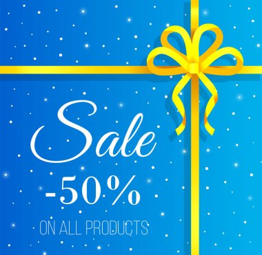 Sale on all products in shops, caption, inscription on picture. Discounts up to 50 percent off in stores. Yellow bow on blue snowy background, falling snowflakes. Vector illustration in flat style icon