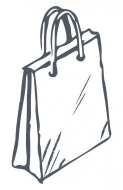 Paper bag with handles isolated icon, package for items storage or presenting. Gift for holidays monochrome sketch outline. Buying items from shops and stores on sale. Discounts on products vector icon
