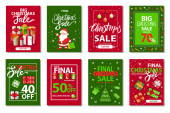 Christmas Sale Promotional Posters and Cards Set