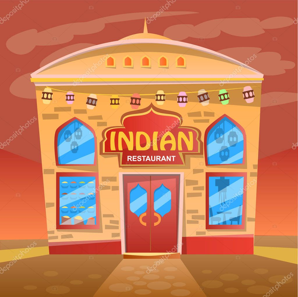 Detailed Flat Design Of Indian Restaurant Facade Bright Cartoon House In Street Environment Snackbar Or Eatery Public Place National Cuisine Vector Illustration In Flat Cartoon Style Premium Vector In Adobe Illustrator