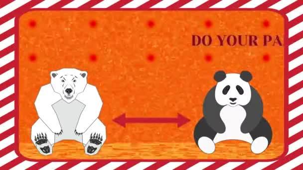 Vaše část zůstane 6 stop od sebe. Sedící lední medvěd a panda