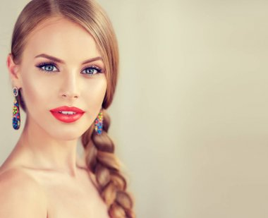 girl with braid and red lips