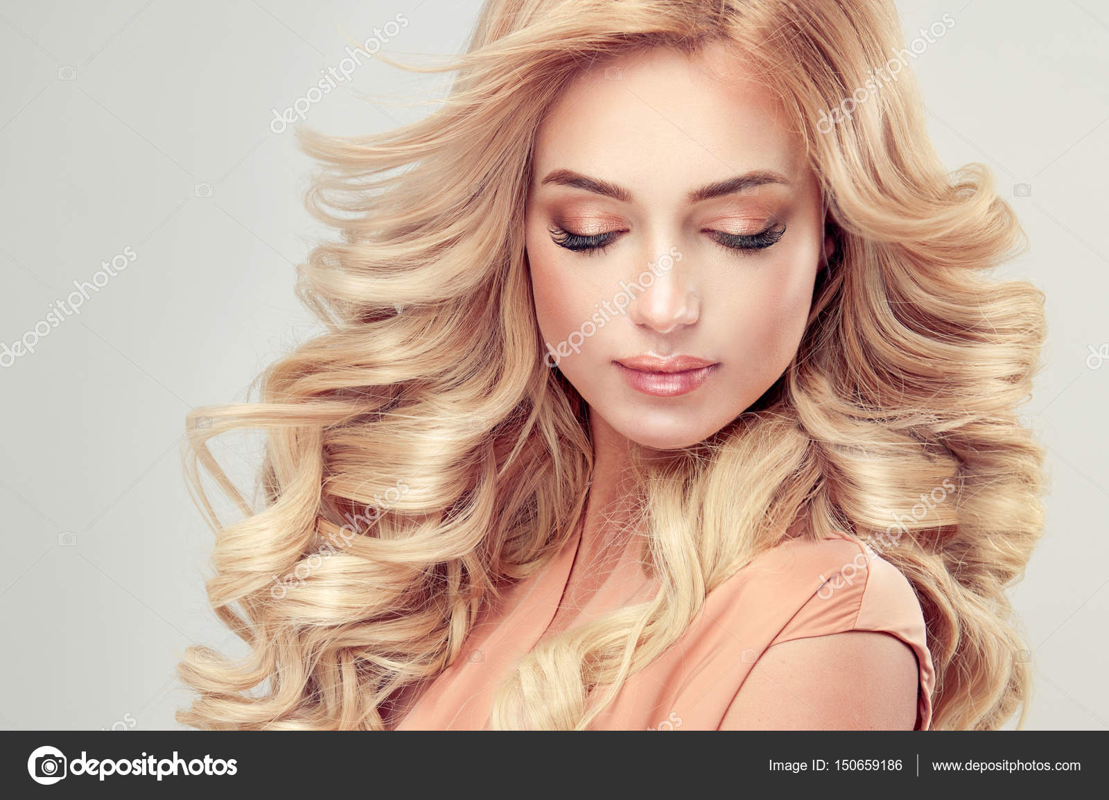 Beautiful blonde hair girl with elegant curly hairstyle — Photo by ...