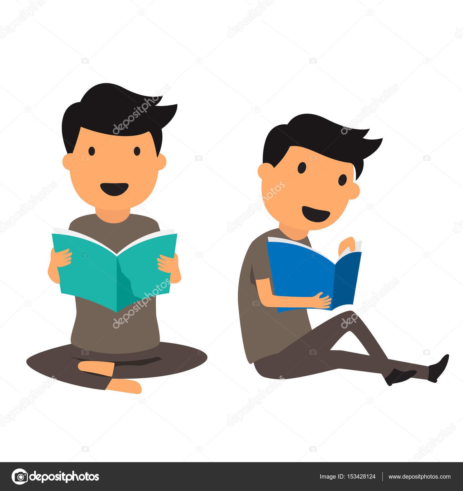 isolado homem sorridente sentado num chão lendo livro desenho