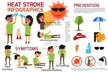 Heat stroke warning infographics. detail of heat stroke graphic prevention and symptoms disease. vector illustration. clip art vector