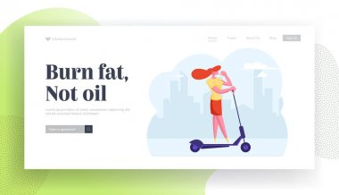 Happy Girl Walking Recreation Website Landing Page. Young Business Woman Driving Scooter Drinking Coffee in City, Hurry at Work. Dweller in Megapolis Web Page Banner. Cartoon Flat Vector Illustration