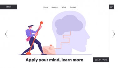 Creativity and Searching Solution Website Landing Page. Businessman Moving Huge Lever Arm to Switch on Brain in Human Head. Creative Idea, Brainstorm Web Page Banner. Cartoon Flat Vector Illustration
