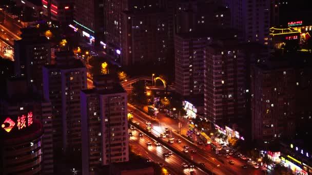Kilátás a városra magasról. Tájkép. Peking. Kína. Ázsiában. Éjszaka