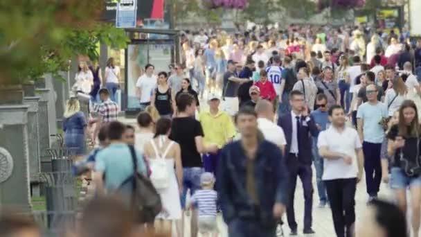 Crowd. Many people walk down the street. Kyiv. Ukraine