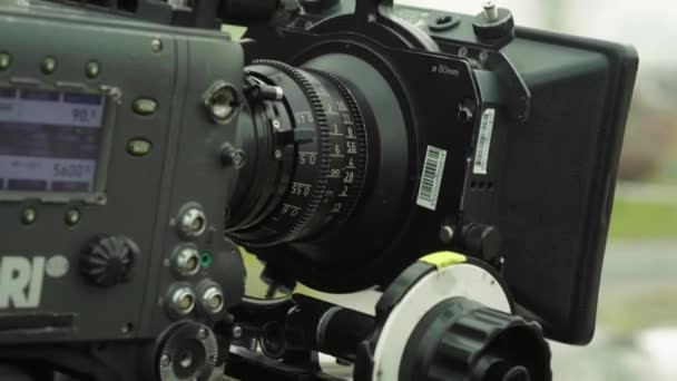 Camera while filming. Filmmaking. Shooting. Film production.