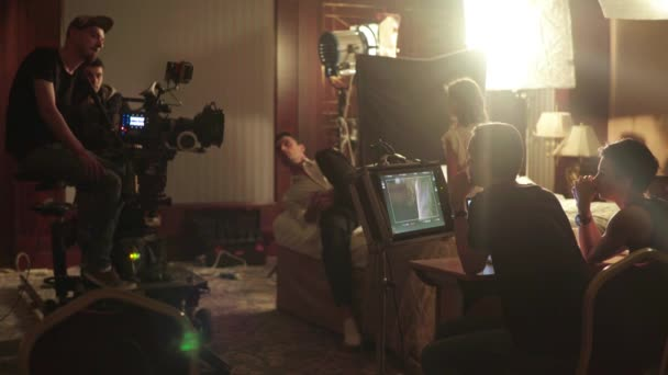 Film crew during filming. Filmmaking. Shooting. Film production