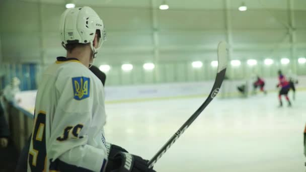 Hokejový zápas v ledové aréně. Kyjev. Ukkraine