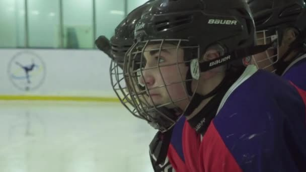 Hokejový zápas. Hráči hokeje během hry