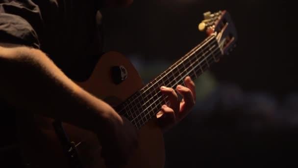 Male guitarist plays the guitar in the dark. Kyiv. Ukraine