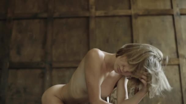 Sexy naked girl woman . Slow motion.