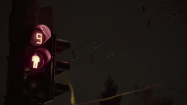 Traffic light on the road at night. Close-up. Kyiv. Ukraine