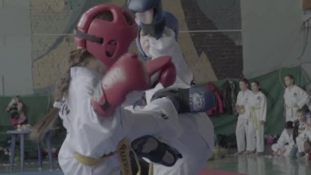 Taekwondo competitions. Children. Slow motion. Kyiv. Ukraine