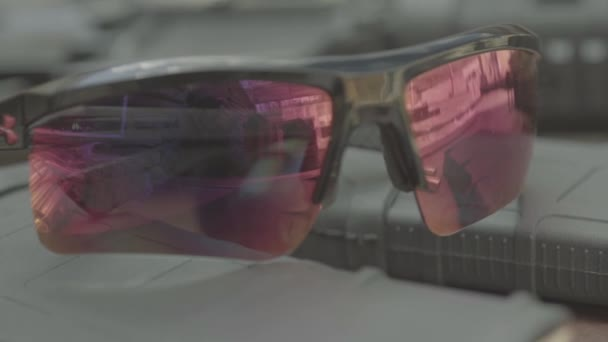 Polarized safety glasses for shooting. Close-up.