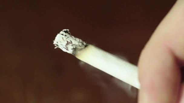 Rauchen von Tabakzigaretten Nahaufnahme Makro.