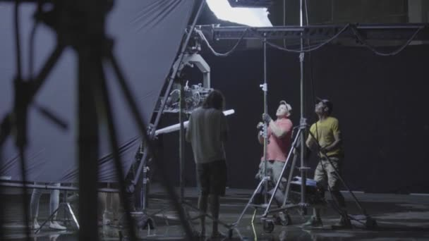 Lighting on the set of the film during filming. Filmmaking. Shooting.