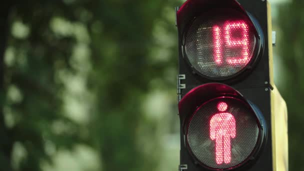 Traffic light on the road during the day. Close-up. Kyiv. Ukraine