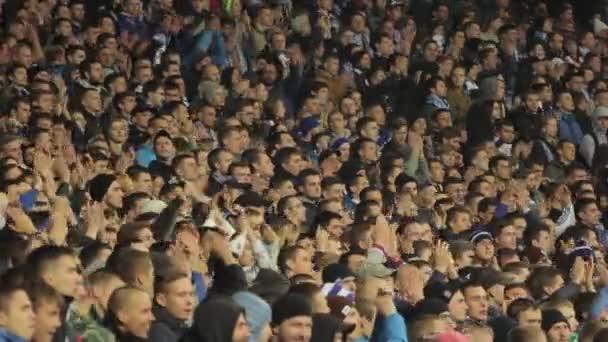 Fans während des Spiels im Stadion. Olimpiyskiy. Kiew. Ukraine.