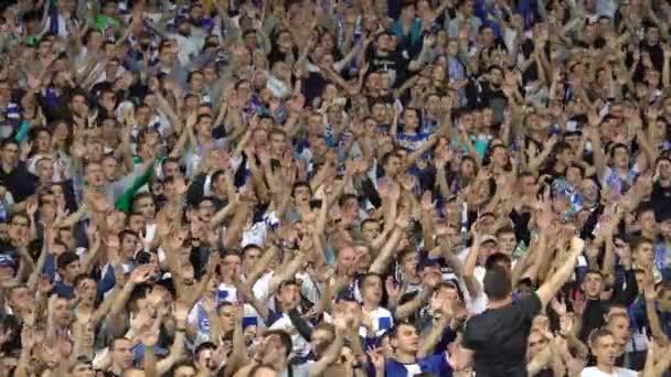 Fans im Stadion während des Spiels. olimpiyskiy. kyiv. Ukraine.