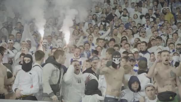 Fans in the stadium during the game. Olimpiyskiy. Kyiv. Ukraine.