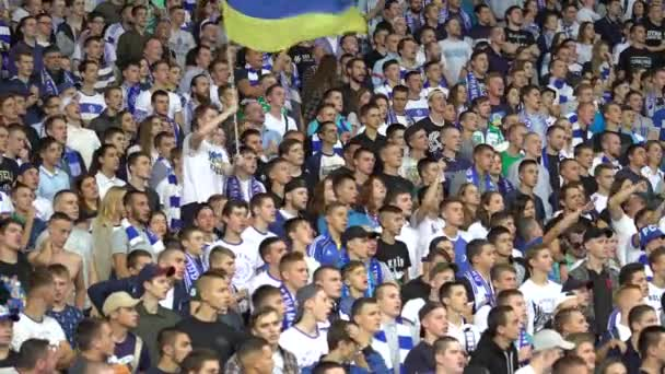 Fans in the stadium during the game. Olimpiyskiy. Kyiv. Ukraine.