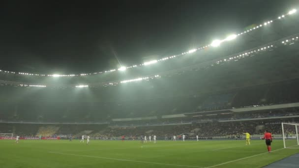 Football soccer game at the stadium. Olimpiyskiy. Kyiv. Ukraine.