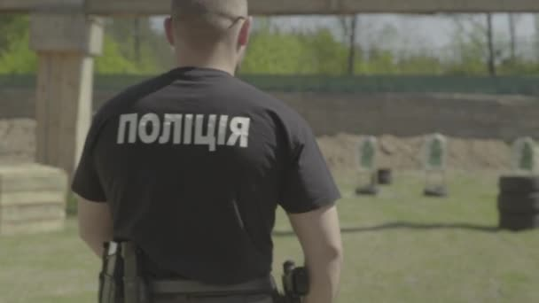 Výcvik policejního důstojníka oficerů. Zpomal. Kyjev. Ukrajina.