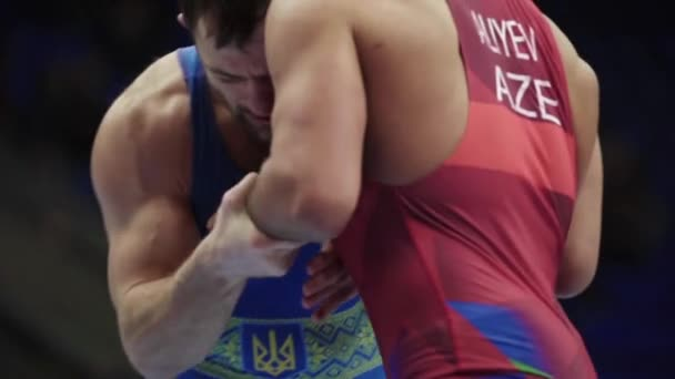 Wrestlers during the wrestling competition. Slow motion. Kyiv. Ukraine