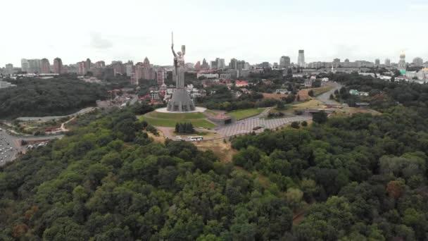 Luftaufnahme des Mutterland-Denkmals in Kiew, Ukraine