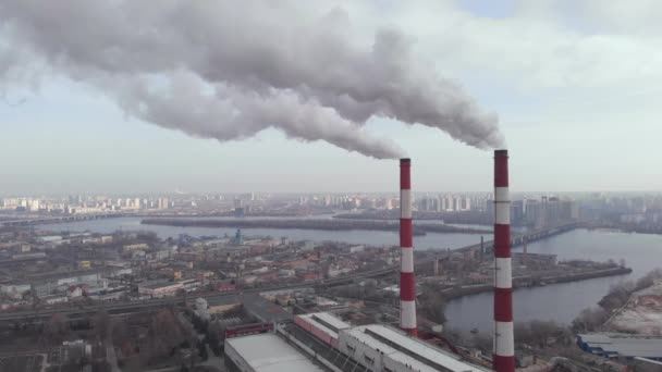 Two pipes plant with smoke. Kyiv. Ukraine. Aerial view