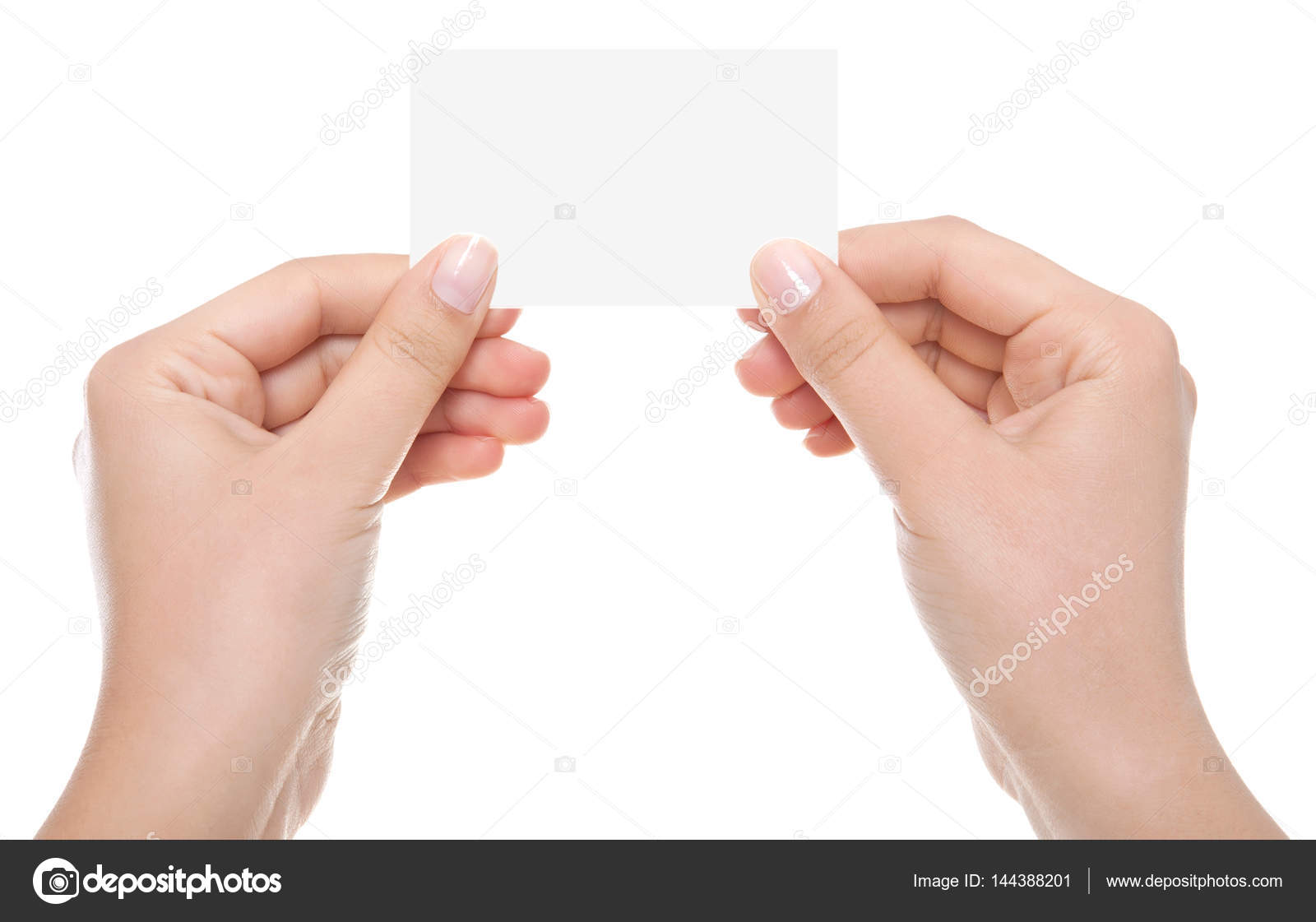 hand holding blank business card with clipping paths — Stock Photo ...