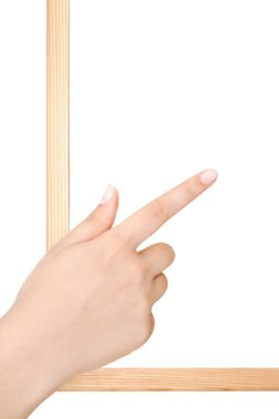 Human Hands Holding Empty Blank Board Over White Background - Re