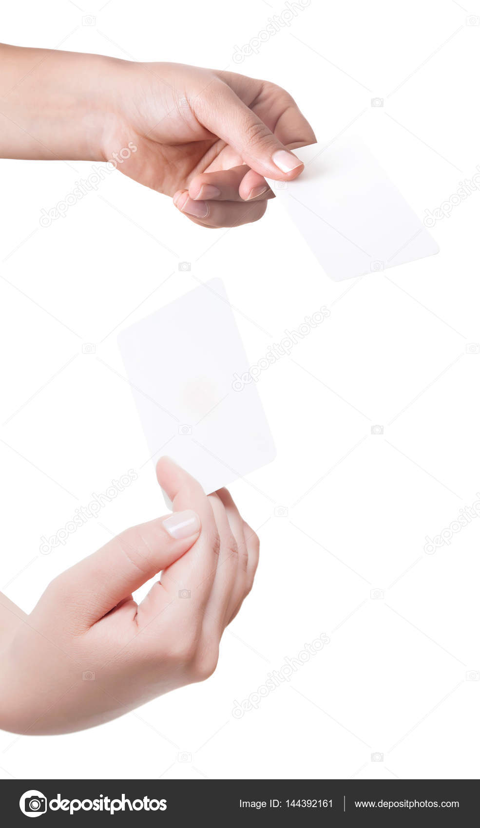 Woman hand hold virtual business card credit card or blank pape